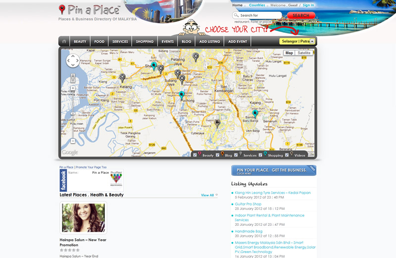 pin a place, free advertising directory